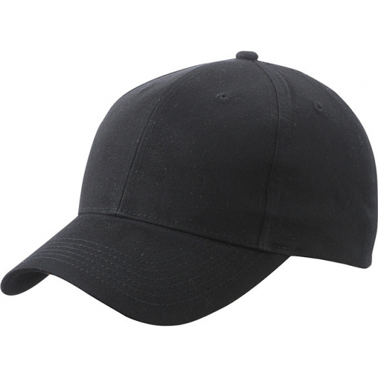 6 panel baseball cap zwart