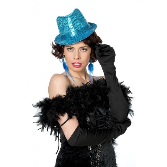 Blauw Al Capone hoedje met pailletten