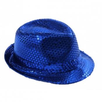 Blauwe gleufhoed met pailletten