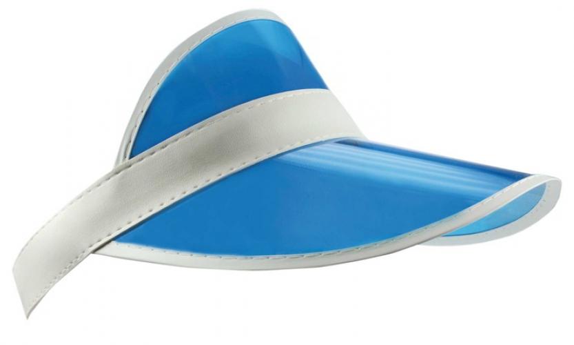 Blauwe zonneklep met witte randen