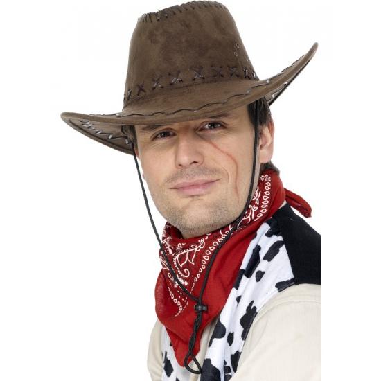 Bruine cowboyhoed suede look