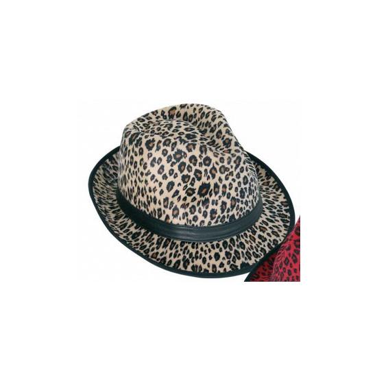 Bruine party hoed met panter print
