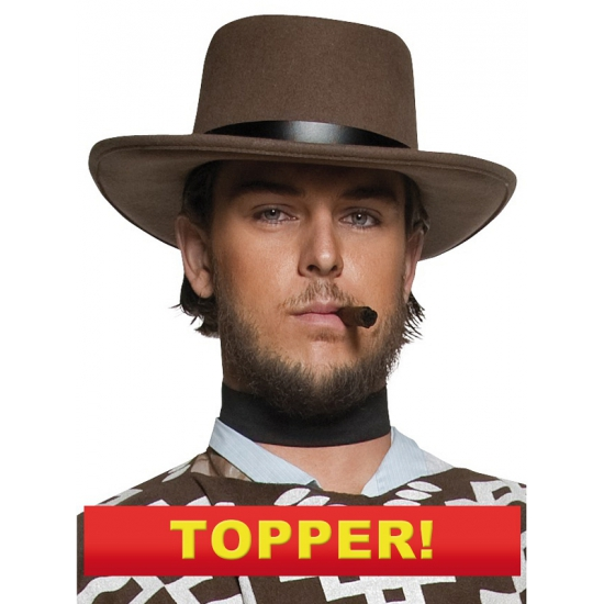 Cowboy hoed bruin met zwarte band