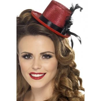 Dames hoge hoed rood glitter