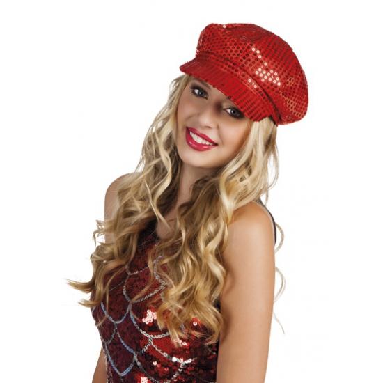 Disco hoed met rode pailletten