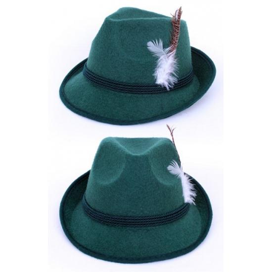 Donkergroene Tirol hoed met veer