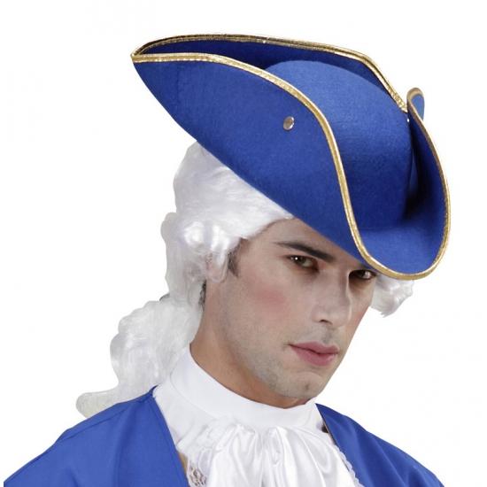 Driepunt hoed blauw vilt