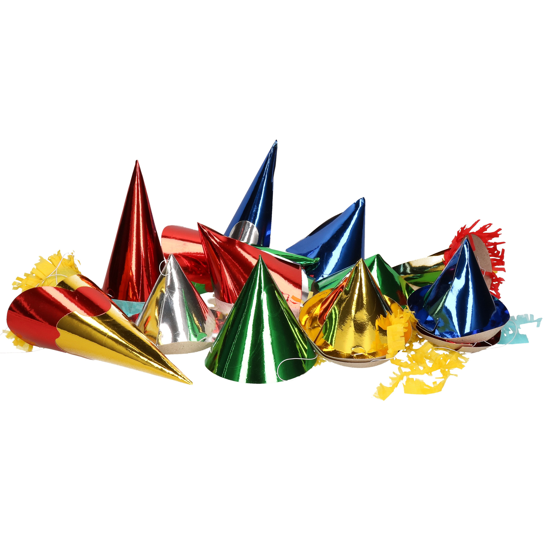 Feesthoedjes in diverse kleuren 12 st