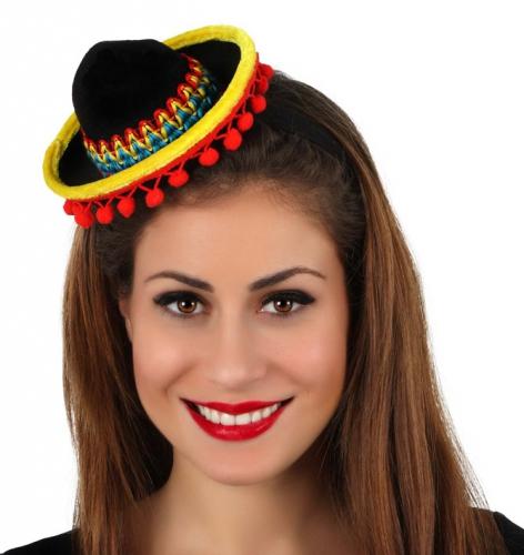 Gekleurd sombrero hoedje op haarband