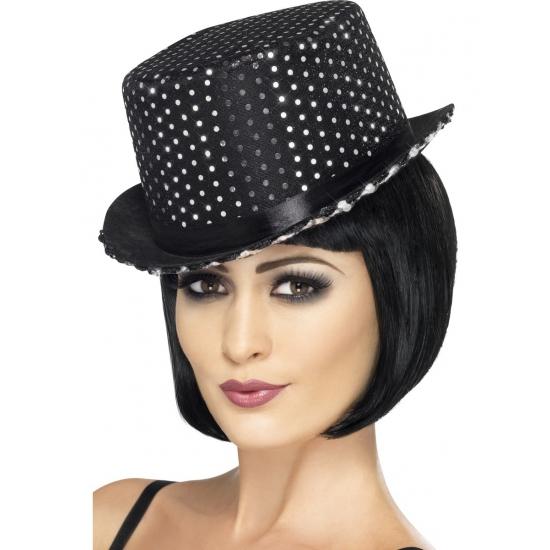 Glitter hoge hoed zwart/zilver