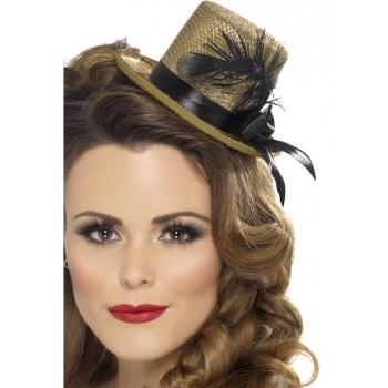 Goud hoedje met lint voor vrouwen