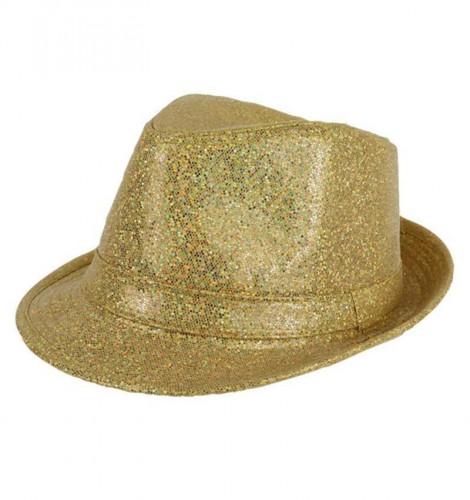 Gouden glitter trilby hoedje