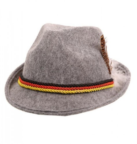 Grijs Oktoberfest hoedje met de Duitse vlag