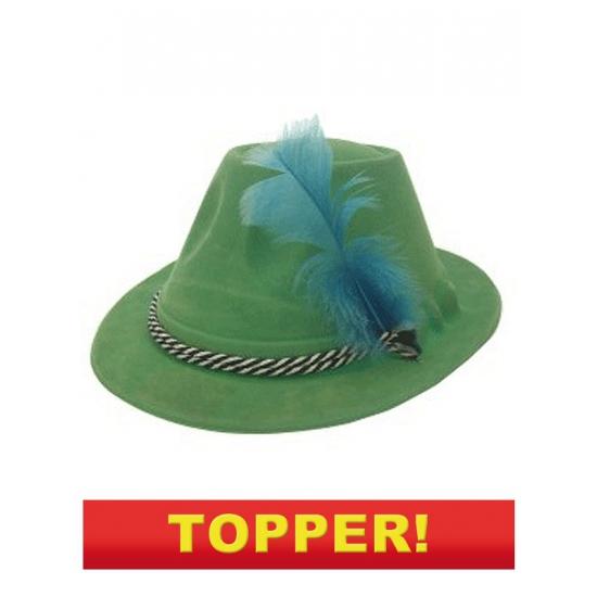 Groene bierfeest hoed met veer