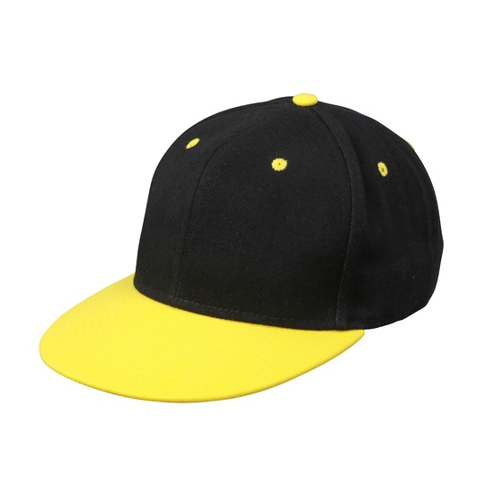 Hippe baseball cap in zwart/geel