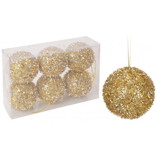 Kerstballen goud glitterbol 6 stuks