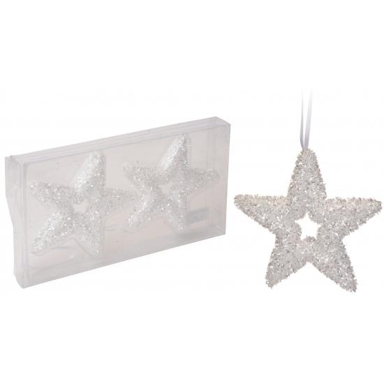 Kerstboom hangers witte glitter ster 13 cm