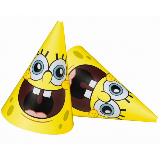 Kinderfeest Spongebob hoedjes 6 stuks