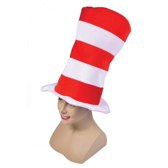 Mega hoge hoed rood met wit