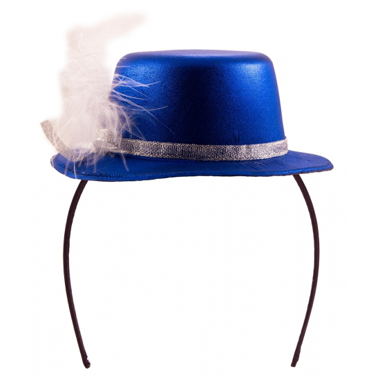 Metallic blauw hoedje op tiara