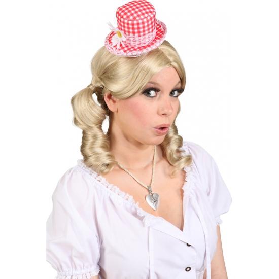 Mini Tiroler hoedje rood met wit