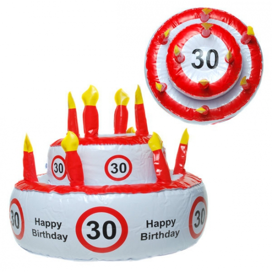 Opblaasbare taart hoed 30 jaar