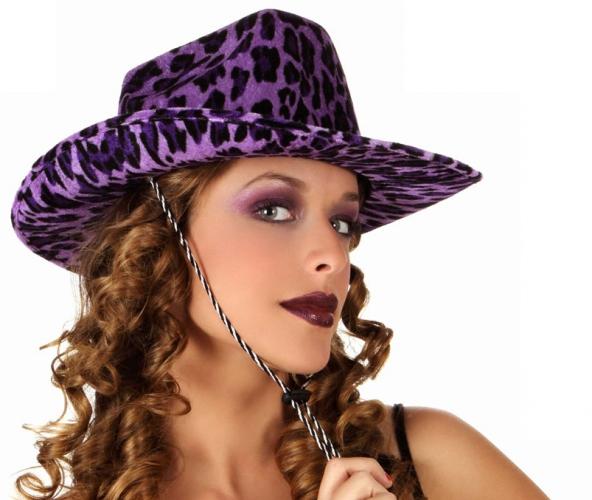 Paarse cowboy hoed met luipaard vlekken