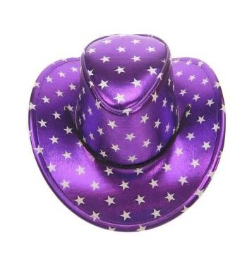 Paarse cowboyhoed met sterren