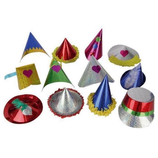 Papieren glitter feesthoedje voor kids
