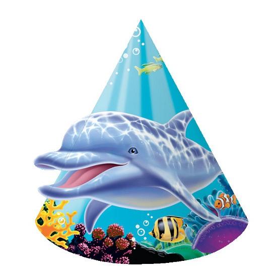 Papieren oceaan thema feesthoedjes 8 stuks