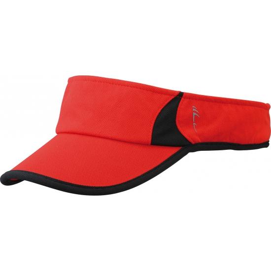 Polyester zonneklep rood en zwart