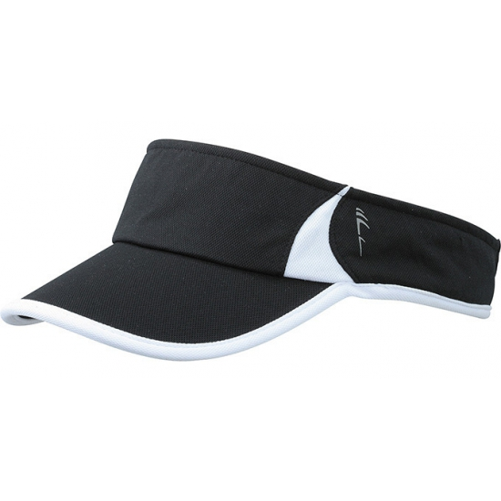 Polyester zonneklep zwart met wit
