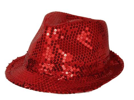 Rood trilby hoedje met pailletten