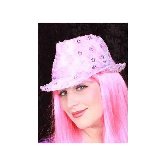 Roze Al Capone hoedje met pailletten