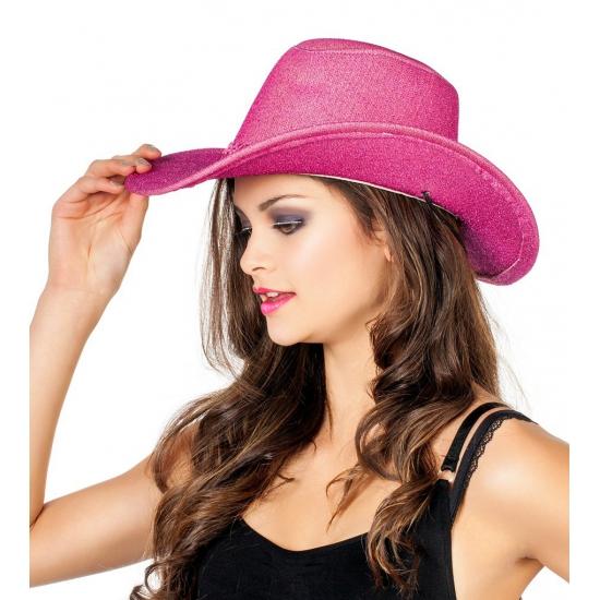 Roze cowboyhoeden met pailletten