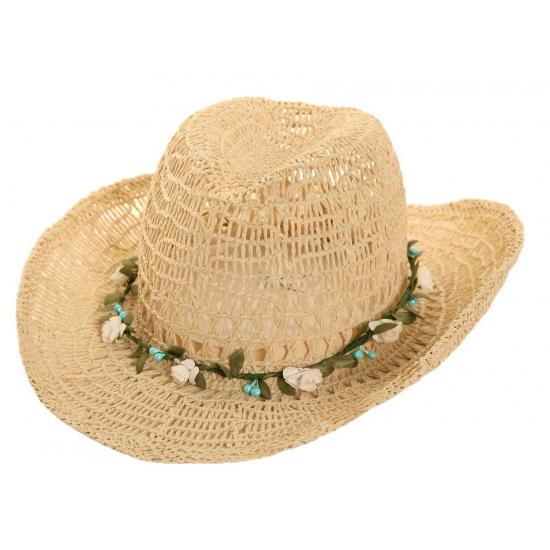 Toppers Cowboyhoed van stro met bloemenkrans