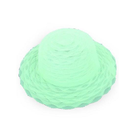 Toppers Lime groene dameshoed van organza stof