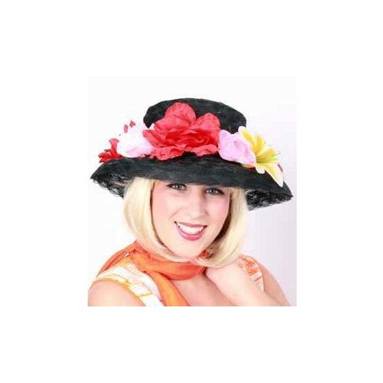 Toppers Zwarte dameshoed met bloemetjes
