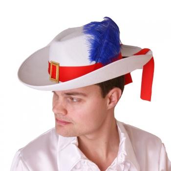 Witte musketier hoed met rode band