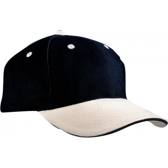 Zwarte baseball cap met beige klep