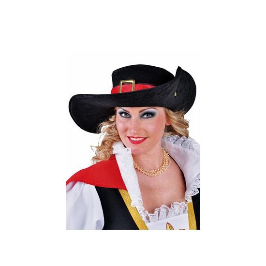 Zwarte musketiers hoed van polyester