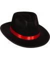 Al capone hoed zwart met rood