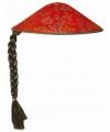Aziatische chinese hoed rood met vlecht