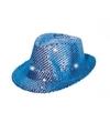 Blauw pailletten hoedje met led licht