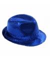 Blauwe trilby hoed met pailletten