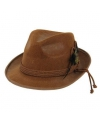 Bruine tiroler hoed met bruine veer