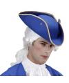 Driehoekige piratenhoed blauw