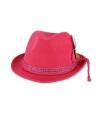 Fuchsia tiroler hoed met bruine veer