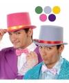 Grijze hoge hoed van vilt voor volwassenen