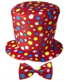 Hoge fun hoed rood met strik